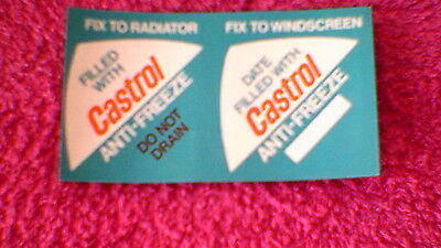 "Classic Car Stickers -  2 on 1 Sheet ""Castrol Anti-Freeze"" New Old Stock !!"