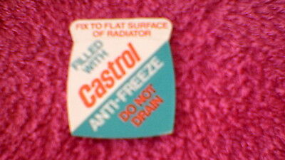 "Classic Car Stickers - ""Castrol Anti-Freeze Do Not Drain"" New Old Stock !!"