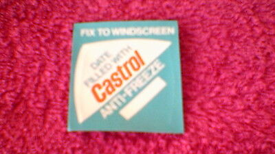 "Classic Car Stickers - ""Date Filled With Castrol Anti-Freeze"" New Old Stock !!"