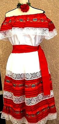 Mexico Red & multicolor Dress sash Fiesta 5 Mayo Adelita Folkloric Ethnic L/XL