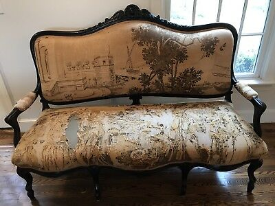 """1900s UPHOLSTERED FRENCH LOUIS XV STYLE SETTEE 64""""Lx47""""H"""