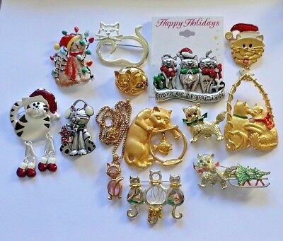 Lot of 13 Cat Pins Vintage to Modern Lots of Christmas Cats Keep or ReSell