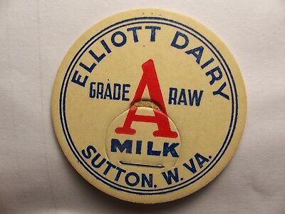 WV Milk Bottle Cap ELLIOTT DAIRY Sutton West Virginia W VA WVa