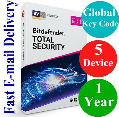 Bitdefender Total Security 5 Device /1 Year (Unique Global Activation Code) 2019