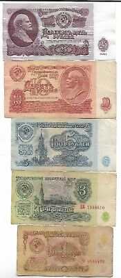 Rare Old CCCP Cold War Soviet Russian Rubles Dollar LENIN 5 Note Collection Set