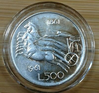 1961-R Italy 500 Lire Silver Unification Horses Horse Chariot Coin