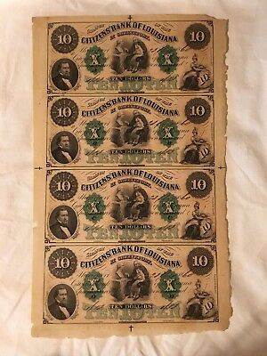 1857 Citizens Bank of Louisiana $10 Money Notes Uncut Sheet Of 4