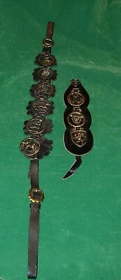 Vintage Set of HORSE BRASS MEDALLIONS on Leather Strap Tack Harness Bridal