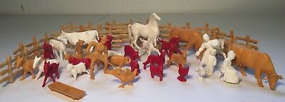 Grp of 46 Vintage Plastic Farm Animals Livestock Fence from Playsets 50's & 60's