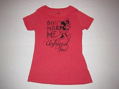 Disney Junior's Red Minnie Mouse Dont Make Me Unfriend You Graphic Shirt Size S