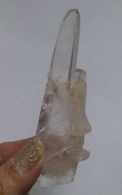 "3 1/2"" Stunning Rare Ancient Natural Lemurian Seed Quartz Crystal Point Wand"