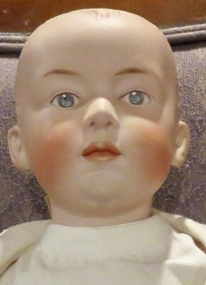 """Antique 17"""" German Bisque Gebruder Heubach Closed Mouth Character Boy Doll"""