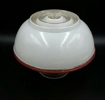 "Vintage Frosted/Clear Glass Ceiling Light Shade Cover Ribbed Globe 3 5/8"" Fitter"