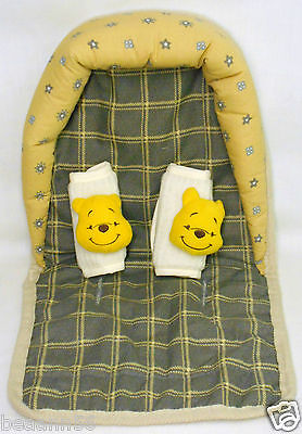 Disney Winnie The Pooh Infant Head Support Seat Belt Strap Cover Car Seat Set