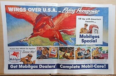 1949 double page magazine ad for Mobil - Big red flying horse, Wings over U.S.A.