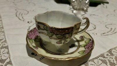 """NIPPON Antique """"Violets"""" Hand Painted Cup & Saucer"""