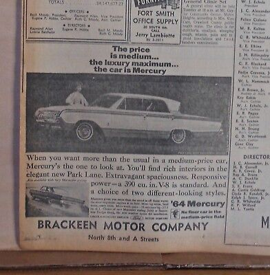 1963 newspaper ad for Mercury - 1964 Park Lane with Breezeway design, max luxury