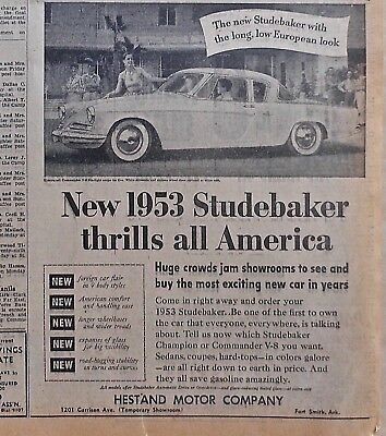 1953 newspaper ad for Studebaker - Commander Starlight Coupe, European look