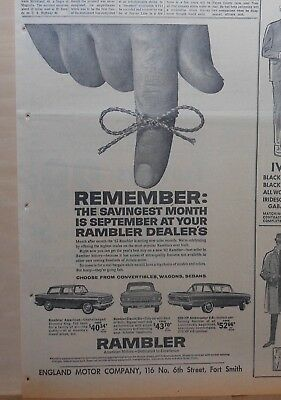 1962 newspaper ad for Rambler - September Savingest Month, Classic 6, American