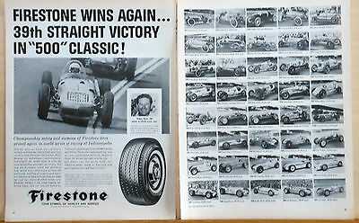 1954 two page magazine ad for Firestone Tires - Indy 500 Winner photos, R.Ward