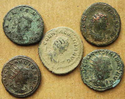Four late Roman radiate coins and an empress.   Various emperors.  (14)