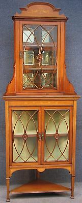 Edwardian Inlaid Solid Mahogany Tall Glass Fronted 3 Door Corner Cabinet