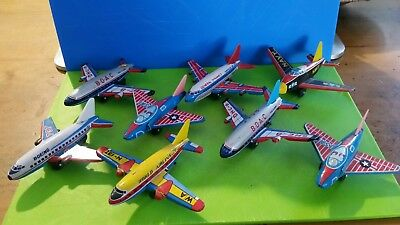 vintage tin toy planes lot Japanese 1970s