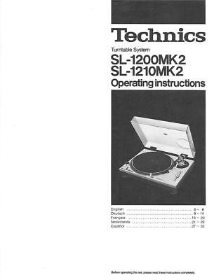 Technics SL-1200MK2 and SL-1210MK2 Turntable manual original print