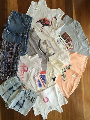 GIRLS SHORTS, T-SHIRT And SINGLET LOT - Size 12, Gum, Fredbare, Roxy, Indie, Gap