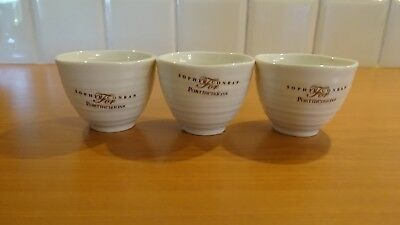 """Portmeirion - Sophie Conran - 3 Small Dipping Pots 2"""" Tall - White - New"""