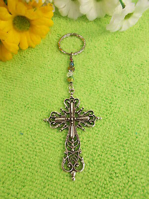 Antique Style Silver Cross - Crystal Bead Key Ring - Color And Clear # 397