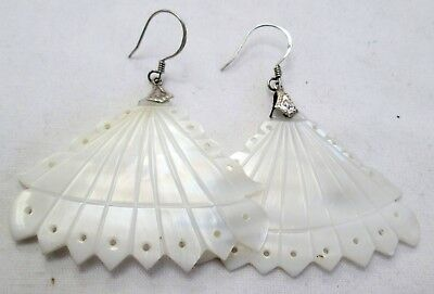 Pair large vintage sterling silver & carved m-o-p fan design pendant earrings