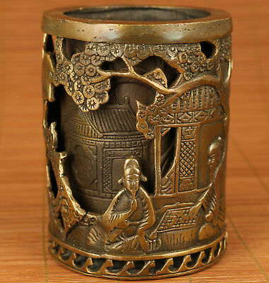 Rare Chinese Old Bronze Hand hollow out Casting Sage Statue Brush Pot Decoration