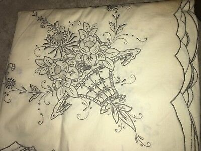 """Spanish Cotton Embroidered  BANQUET Cloth Tablecloth  Vintage 64"""" x 100"""" Ecru"""