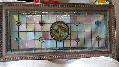 Stunning Antique stained leaded glass oak art deco
