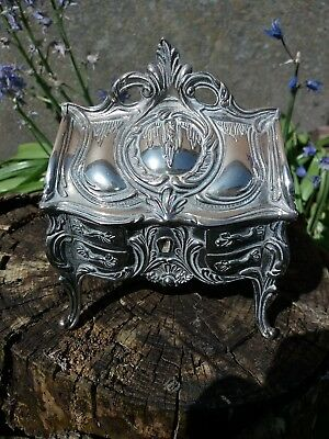 Louis XV Style Bombe Bureau Silver plated Ornate Jewellery Casket/Box - Gorgeous