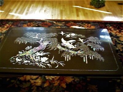 Black Lacquer Coffee Table Mother Of Pearl INLAY Made in South Korea
