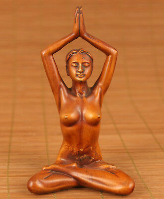 Rrae Chinese Old Boxwooe Hand Carving  yoga statue figure collectables