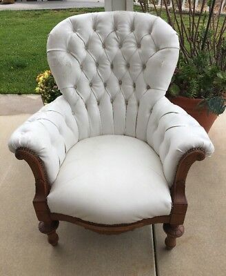 Antique Eastlake Large Tufted White Leather Library Wing Chair Upholstery Torn