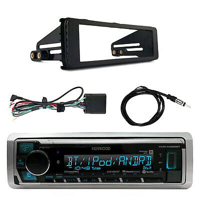 Kenwood KMR-M322BT Marine Bluetooth Radio, Enrock Harley Dash Kit, Antenna