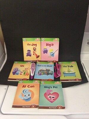 LeapFrog Tag Reader Purple & White Pen LEAP FROG 7 BOOKS & A USB Cord