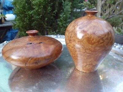 Two Signed Bill Jackson turned Mallee wood Vases