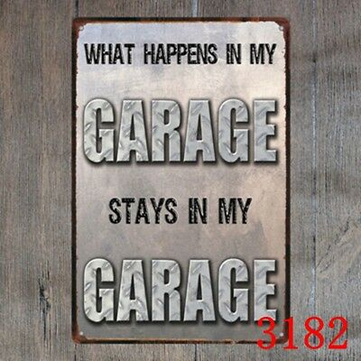 What Happens Garage Stays Funny Sayings Metal Sign Tin