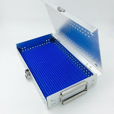 Aluminium Alloy sterilization tray case with one silicone mat surgical