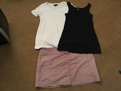 Bundle Of Next Summer Maternity Clothes Size 8. Pink Cord Skirt & 2 Tops