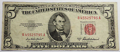 1953 A  $5, Five Dollar Red Seal United States Note
