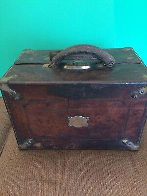 1871 Antique Surgical Medical Leather Wood Case Box  Haussman  McComb & Dunn