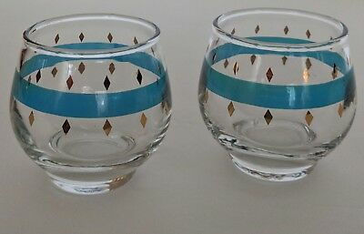 2 Vtg Libby  Mid Century Modern Turquoise & Gold 4 oz. Poly Poly Glasses