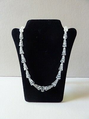 Vintage Faceted Cut Crystal Necklace .925 Sterling Clasp ~ Long ~ Conical
