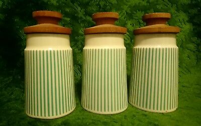 3 x Hornsea Springtime Striped Spice Jar With Wooden Lids